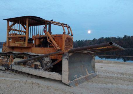 Wood County Dozer on Lake Hawkins Beach