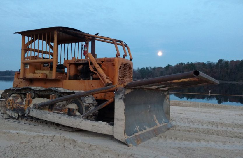 Wood County Dozer on Lake Hawkins Beach